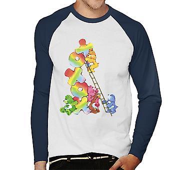 omsorg bjørn bursdag bjørn xoxox klatring stige menn's baseball langermet t-skjorte