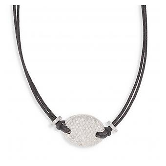 Black Leather Imitation Necklace With Silver Zirconia 40cm Cubic