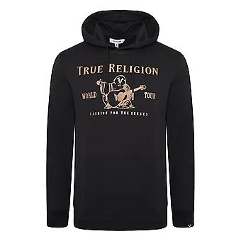 True religion men's black chad core interlock hoody
