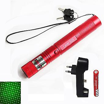 Adjustable Focus Green Laser With Star Cap, Keys, Charger And Battery
