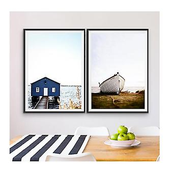 Boat Shed - Two Piece Wall Art Dinghy and Boatshed Photographic Artwork