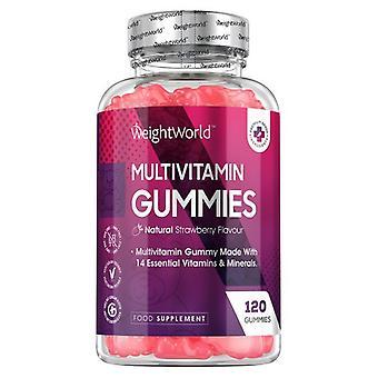 Multivitamins - 120 Gummies. Strawberry Flavour - Punch of 13 Vitamins & Minerals