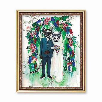 Wedding Cats Art Print
