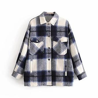 Women Streetwear Long Sleeve Thick Wool Fashion Pocket Oversized Shirts Coats