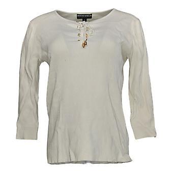 BROOKE SHIELDS Women's Sweater Timeless 3/4 Sleeve Lace-Up Beige A344547