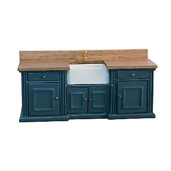 Κουκλών Σπίτι Μπλε & Μονάδα νεροχυτήρα πεύκου Smallbone με έπιπλα κουζίνας νεροχύτη του Μπέλφαστ