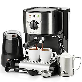 7 Pc all-in-one espresso & cappuccino maker machine barista bundle set w/built-in steam wand (inc: c