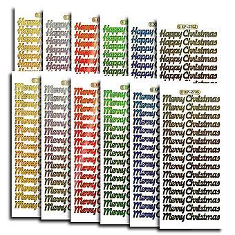Produkty kreatywne pryzmatyczne świąteczne naklejki na teksty, naklejki, wielokolorowe