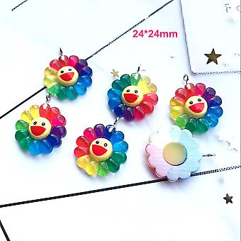 10pcs Flat Back, Resin Smiling Flower Diy Decoration Charms