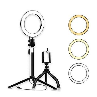 20cm/8inch LED Ring Light 3 Colors 3500-6500K Temperature 10 Levels Dimmable