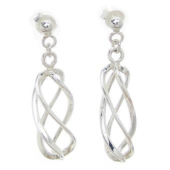 Twist Sterling Silver Drop Brincos .925 X 1 Par Dangle Drops Dangles