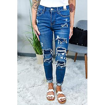 Women's Fashion Patched Distressed Skinny Jeans