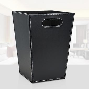 Business Square Leather Trash Cans Wastepaper Basket Sundries Household Office
