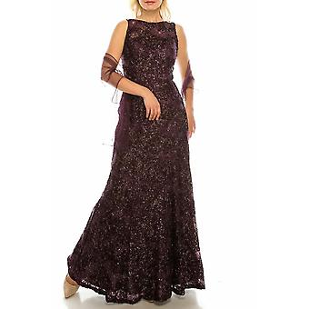 Plum Glittered Floral Appliqued Long Evening Gown