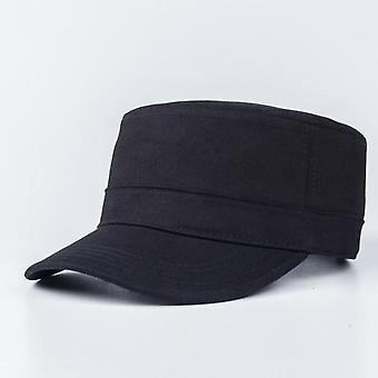 Military Cap Hats, Cotton Solid Color Black Army Flat Cap/ Ladies Military Hats