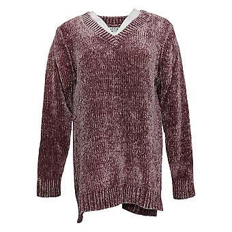 Orvis Women's Sweater V-Neckline Long Sleeve Mauve Pink