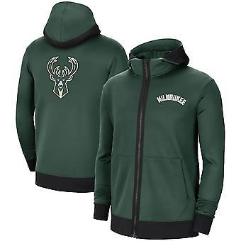 Milwaukee Bucks Hunter Grønn Showtime Ytelse Full-Zip Hettegenser Jakke