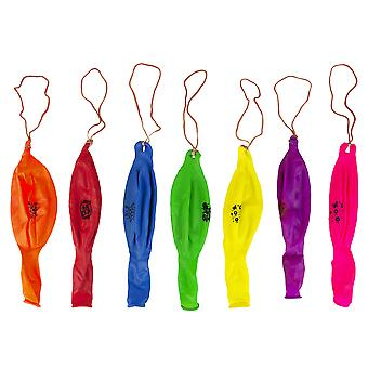 Printed Multi Coloured Large (12 inches) Punch Balloons with Elastic Band