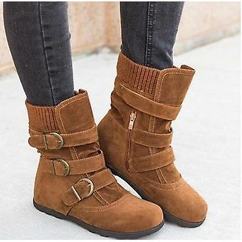 Winter Buckled Calf Women's Boots Warm Zipper Boots Plain Flat Shoes
