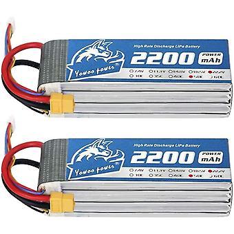 Yowoo 2 Packs 6S 2200mah 50C 22.2V Lipo Battery with XT60 Connector RC Battery for SAB380 Align 470