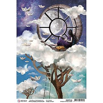 Ciao Bella Piuma Rice Paper A4 - Window in the Clouds