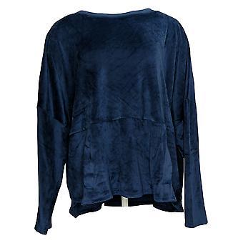 Cuddl Duds Women's Plus Plush Velvet Fleece Pajama Top Blue A381811