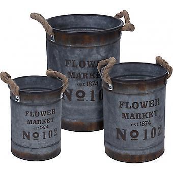 deco bucket set 3 pieces 5/8/12 liters