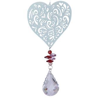 windspinner Magic Heart 40 cm Glas silber/rot