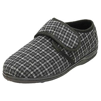 JWF Touch Fastening Slippers Grey House Shoe