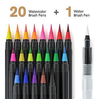 Caneta de aquarela de pincel colorido pintado caneta aquarela 20 cores