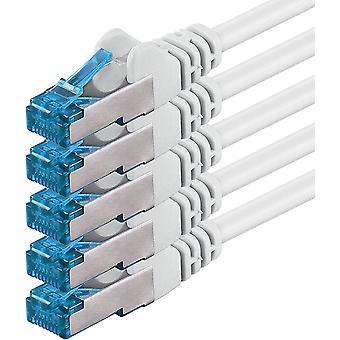 FengChun 1,5m - CAT6a - Netzwerkkabel Weiss - 5 Stck CAT 6 A Patchkabel 10000 Mbit s SFTP PIMF 500