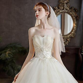 Nye brudekjoler stropløs Appliques Perler Lace
