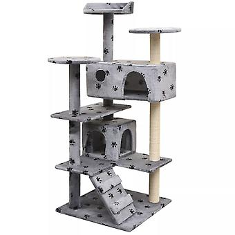 vidaXL Katzen-Kratzbaum 125 cm Pfoten-Aufdruck Grau