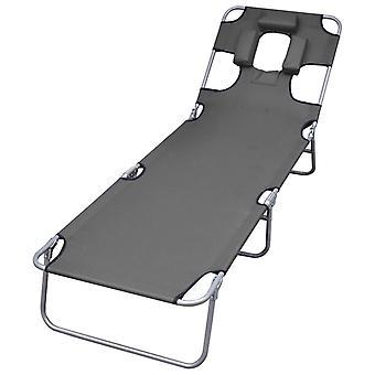 vidaXL Aurinkotuoli Taitettava tyyny Säädettävä selkänoja Harmaa