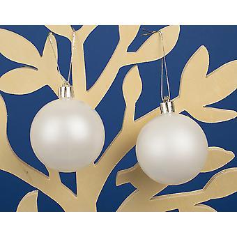 20 Mère de Perle 6cm Blanc Shatterproof Christmas Tree Bauble Décorations