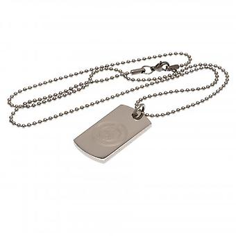 Manchester City gegraveerd dog tag & ketting