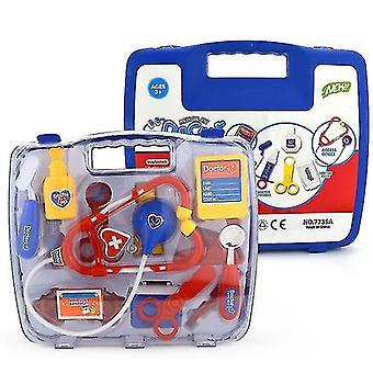 Simulation Girl Toy Stethoscope Set Medical Equipment Portable Medicine Box Children's Play(Blue)
