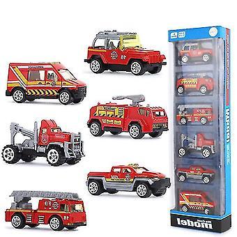 6pcs合金消防車、子供の教育玩おもちゃシミュレーション車