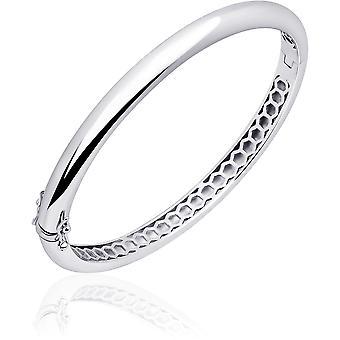 Gisser Jewels - Armband - Bangle Half Ball Polerad - 6mm Bred - Storlek 56 - Rhodium Silver 925