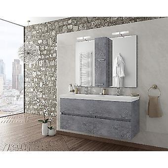 Set Mobili Luxus , Colore Grigio, Bianco in MDF, Ceramica, LPB, Vetro, Alluminio, ABS, Unita' Base con Lavabo: L120xP40xA50 cm