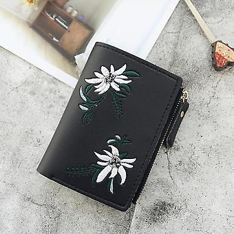 New Women's Wallets Print Flower Short Wallet For Woman Zipper Mini Coin Purse Ladies Small Wallet Female Leather Card Holder
