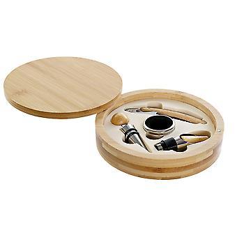 Set wijn accessoires DKD Home Decor Bamboe roestvrij staal Lichtbruin (4 stuks)