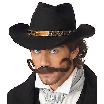 The Gunslinger Western Dark Brown Men Costume Moustache