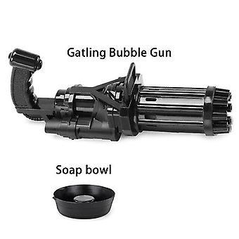Kinder Spielzeug Automatische Gatling Bubble Gun Spielzeug Kinder zwei in einer elektrischen Blase (Schwarz)