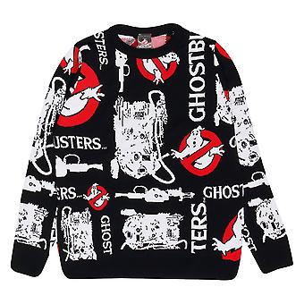 Oficial Mens Ghostbusters Knitted Jumper Proton Pack & Ghost Logo Sweater