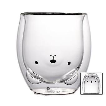 النبيذ الزجاج سحر الإبداعية لطيف الدب طبقة مزدوجة القدح شكل جميل كأس زجاجي جرلي كوب