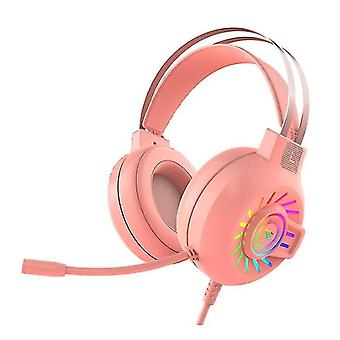 RGB LED Gaming Headphone For PC Mac Nintendo Switch Laptop PS4 Xbox One(Pink)