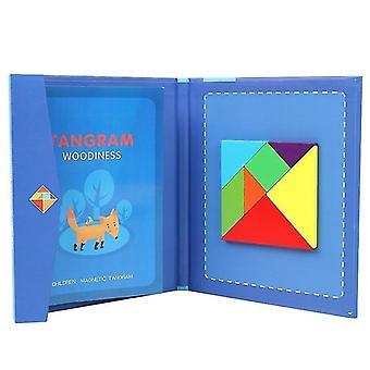 2+ Přenosná magnetická tangram vzdělávací dětská puzzle kniha (modrá)