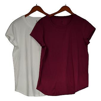 Skinnygirl Women's Top Alissa 2-pack Basic Tees Purple 743761