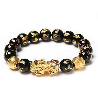 Bracelet d'obsidienne naturel avec des écritures bouddhistes